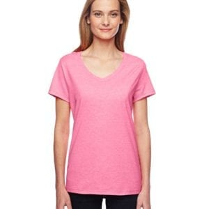 bulk custom shirts hanes 42v0 ladies xtemp custom performance vneck neon pink heather