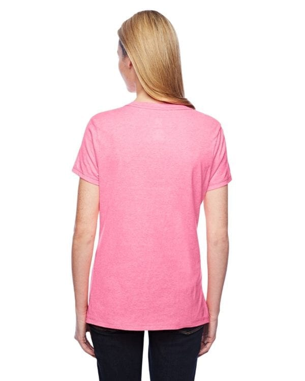 bulk custom shirts hanes 42v0 ladies xtemp custom performance vneck pink back