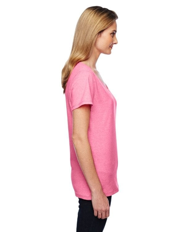bulk custom shirts hanes 42v0 ladies xtemp custom performance vneck pink side