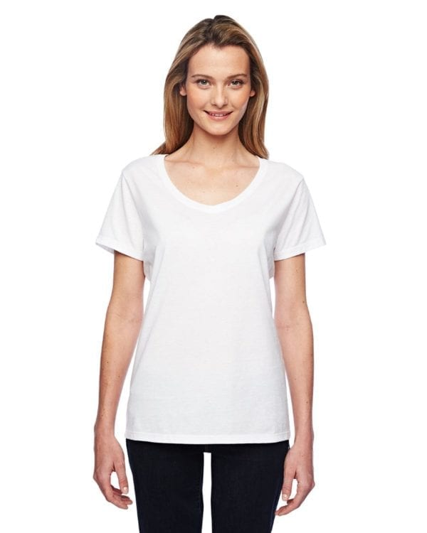 bulk custom shirts hanes 42v0 ladies xtemp custom performance vneck white