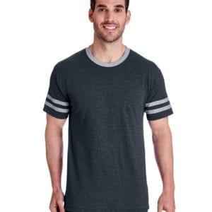 bulk custom shirts jerzees 602mr adult custom triblend varsity ringer shirt black hth-oxford