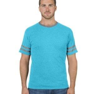 bulk custom shirts jerzees 602mr adult custom triblend varsity ringer shirt carib bl hth-ox