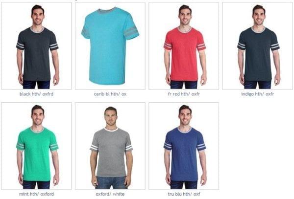 bulk custom shirts jerzees 602mr adult custom triblend varsity ringer shirt colors