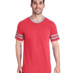 bulk custom shirts jerzees 602mr adult custom triblend varsity ringer shirt fr red hth-oxfr