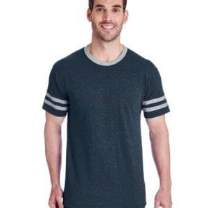 bulk custom shirts jerzees 602mr adult custom triblend varsity ringer shirt indigo hth-oxf