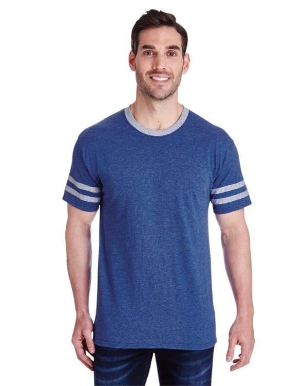 bulk custom shirts jerzees 602mr adult custom triblend varsity ringer shirt true blue heather oxf
