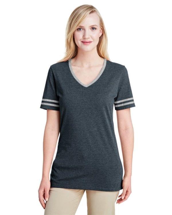 bulk custom shirts jerzees 602wvr ladies' custom triblend varsity vneck t shirt black hth-oxford