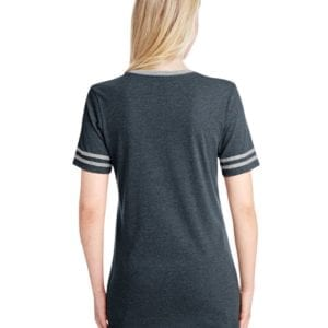 bulk custom shirts jerzees 602wvr ladies' custom triblend varsity vneck t shirt black hth-oxford back