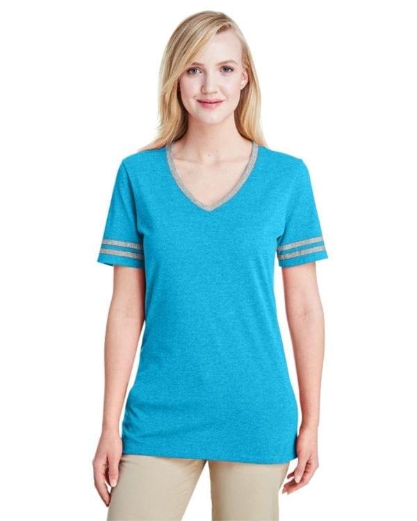 bulk custom shirts jerzees 602wvr ladies' custom triblend varsity vneck t shirt carib bl hth-ox