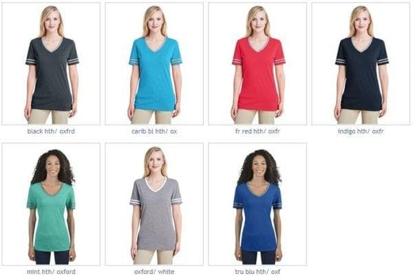 bulk custom shirts jerzees 602wvr ladies' custom triblend varsity vneck t shirt colors
