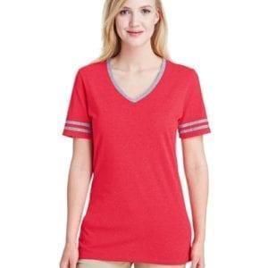bulk custom shirts jerzees 602wvr ladies' custom triblend varsity vneck t shirt fr red hth-oxfr