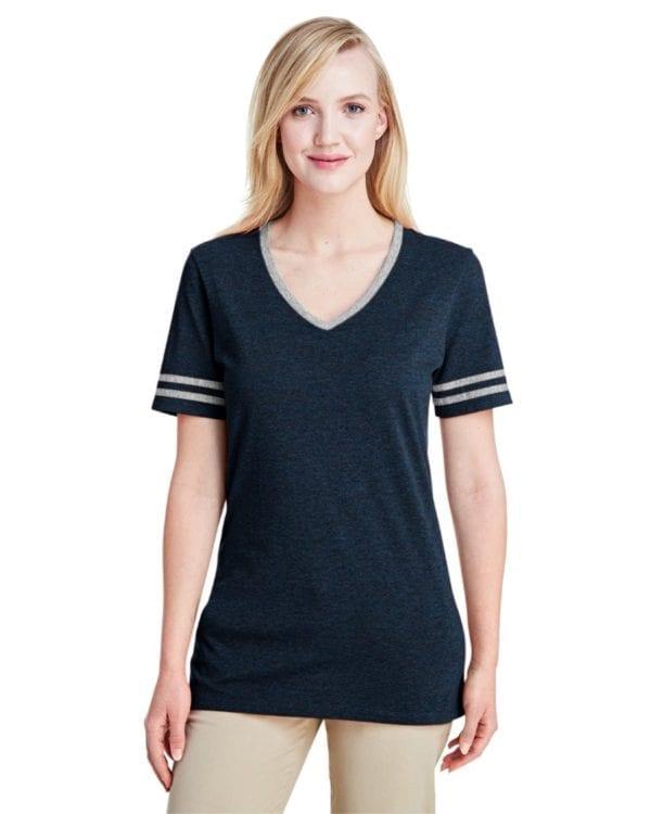 bulk custom shirts jerzees 602wvr ladies' custom triblend varsity vneck t shirt indigo hth-oxford