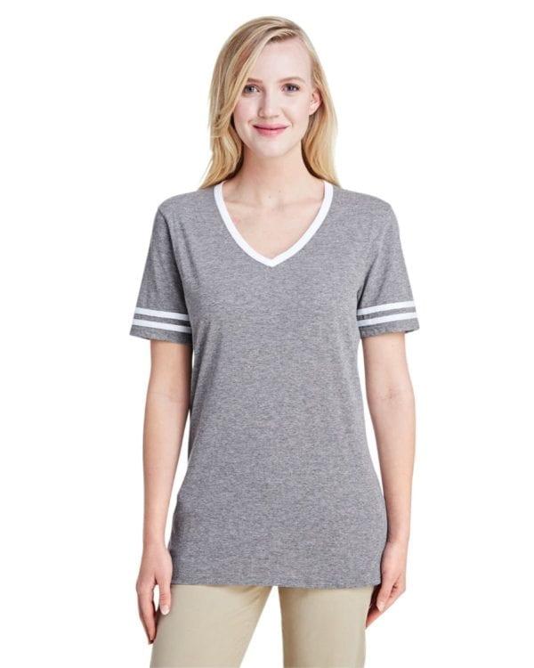bulk custom shirts jerzees 602wvr ladies' custom triblend varsity vneck t shirt mint hth-oxford