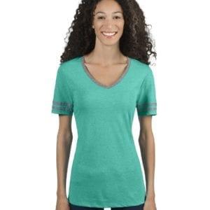 bulk custom shirts jerzees 602wvr ladies' custom triblend varsity vneck t shirt oxford-white