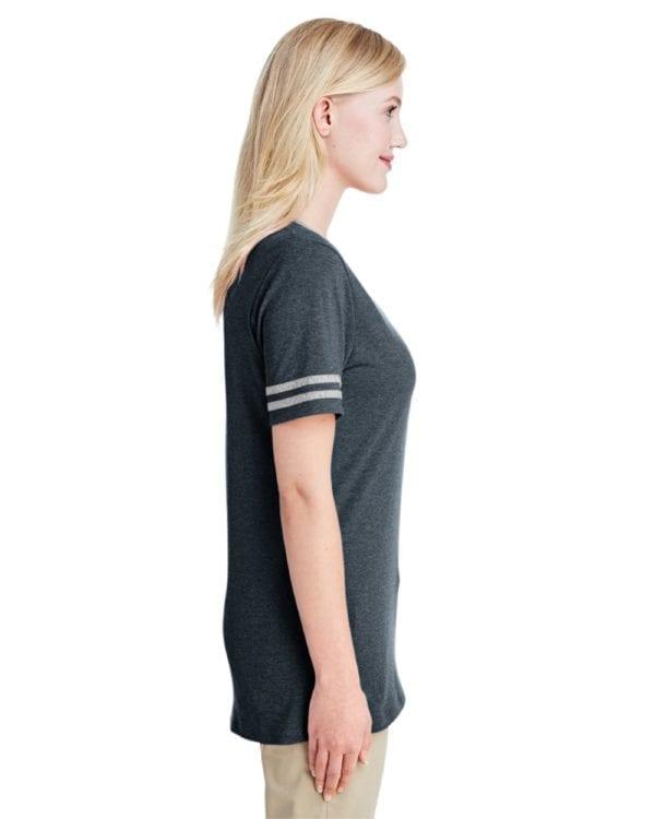 bulk custom shirts jerzees 602wvr ladies' custom triblend varsity vneck t shirt side