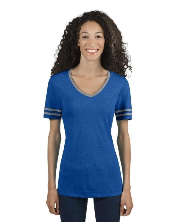 bulk custom shirts jerzees 602wvr ladies' custom triblend varsity vneck t shirt true blue heather-oxford