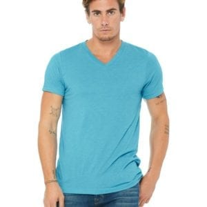 personalized shirts bella canvas 3415c unisex custom triblend shirt sleeve v-neck t shirt aqua triblend