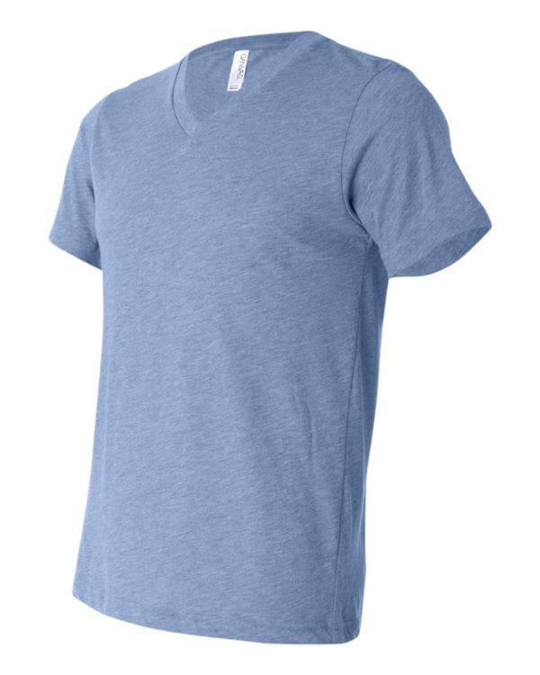personalized shirts bella canvas 3415c unisex custom triblend shirt sleeve v-neck t shirt blue triblend
