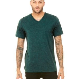 personalized shirts bella canvas 3415c unisex custom triblend shirt sleeve v-neck t shirt emerald triblend