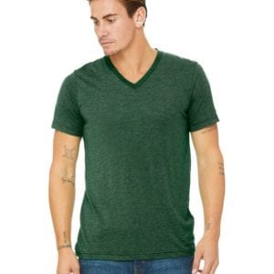 personalized shirts bella canvas 3415c unisex custom triblend shirt sleeve v-neck t shirt grass green triblend