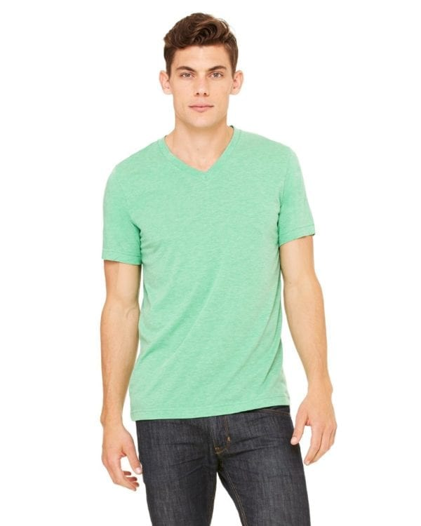 personalized shirts bella canvas 3415c unisex custom triblend shirt sleeve v-neck t shirt green triblend
