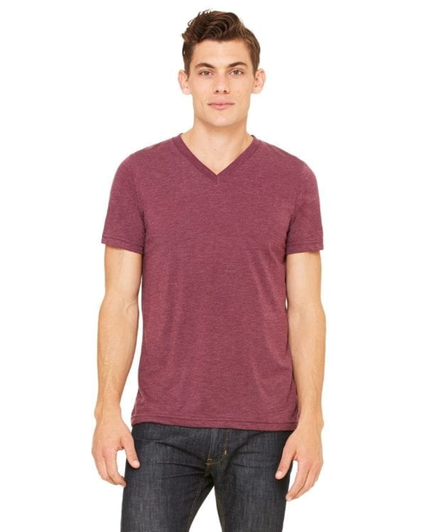 personalized shirts bella canvas 3415c unisex custom triblend shirt sleeve v-neck t shirt maroon triblend