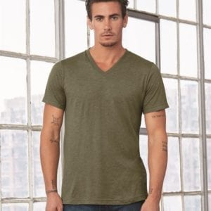 personalized shirts bella canvas 3415c unisex custom triblend shirt sleeve v-neck t shirt olive triblend