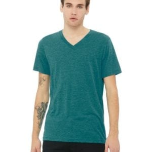 personalized shirts bella canvas 3415c unisex custom triblend shirt sleeve v-neck t shirt teal triblend