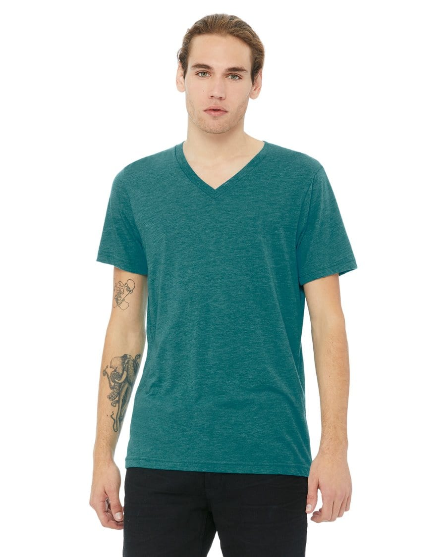 90d5b4491 personalized shirts bella canvas 3415c unisex custom triblend shirt sleeve v -neck t shirt teal