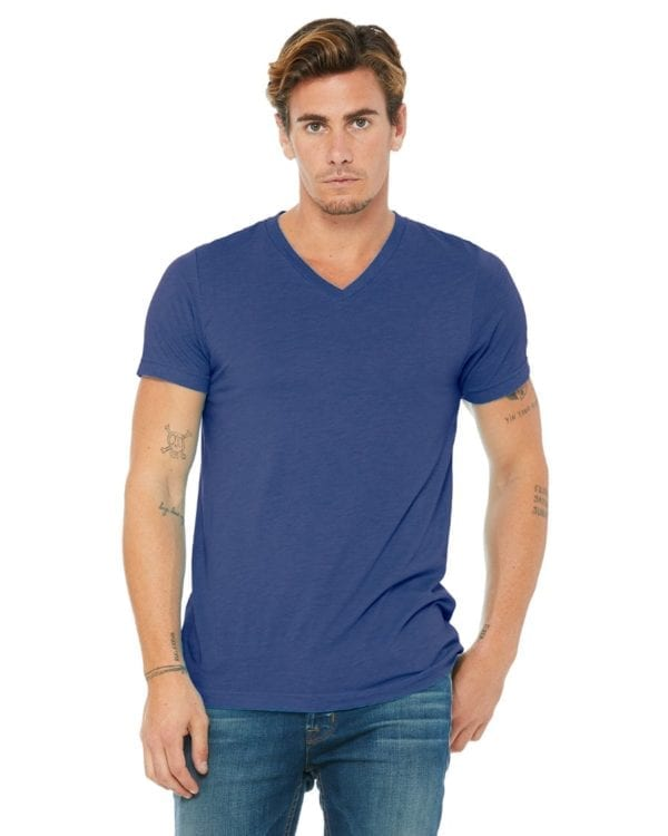 personalized shirts bella canvas 3415c unisex custom triblend shirt sleeve v-neck t shirt true royal triblend