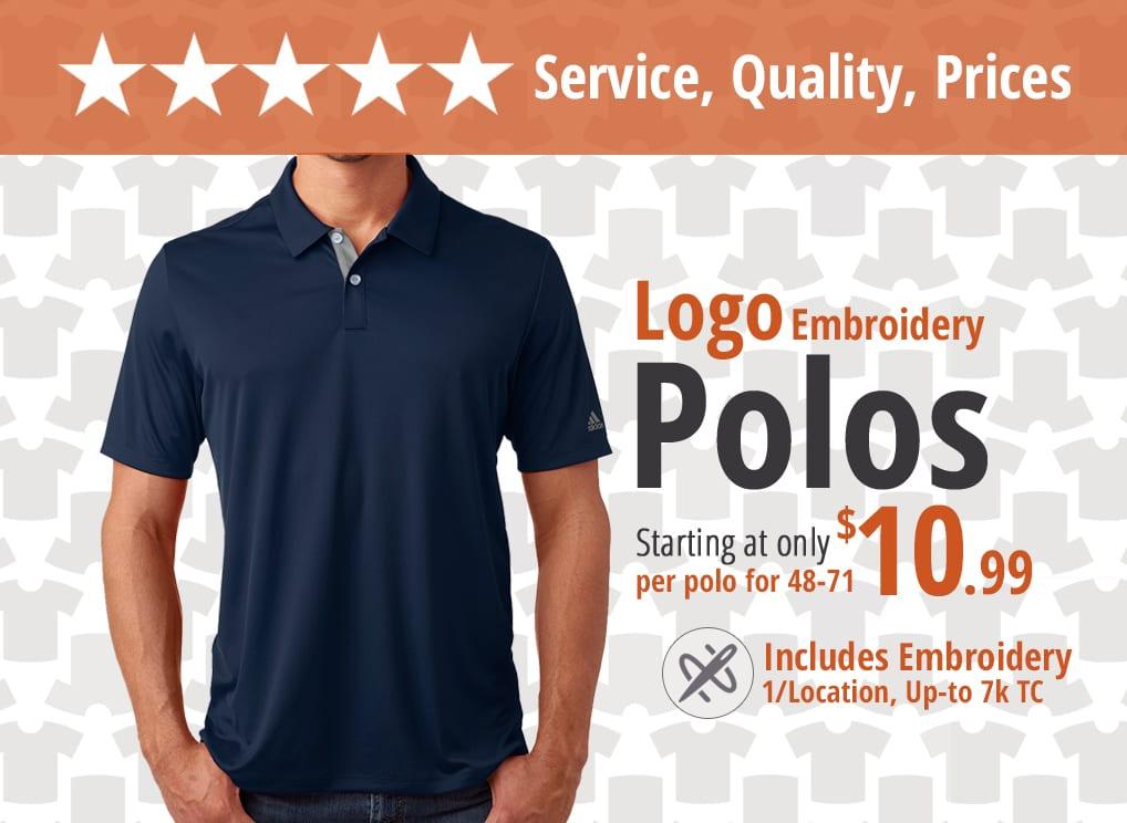 bulk custom shirts specials custom polos
