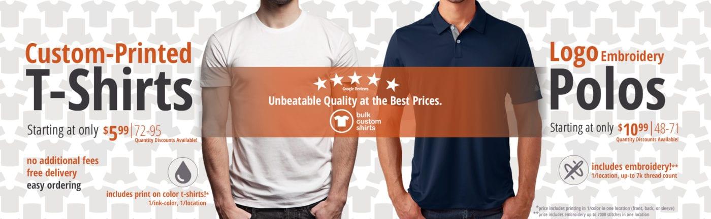 bulk custom shirts specials custom t-shirts custom polos